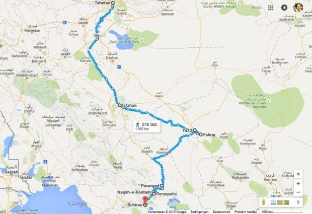 unsere route: tehran, esfahan, yazd, faharaj, über persepolis nach shiraz und wieder nach tehran.